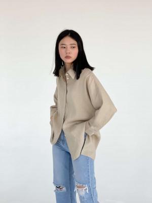 Рубашка с цельнокройным рукавом лен бежевый