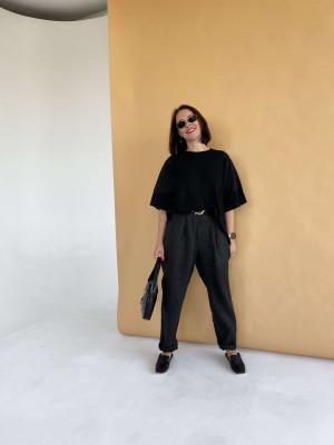 Вязаная оверсайз футболка черная