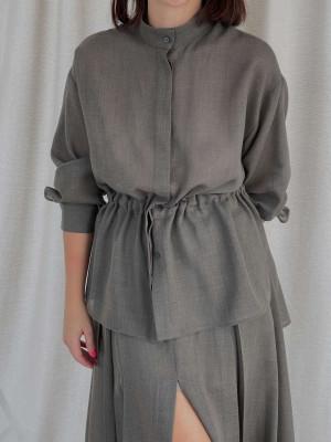 Рубашка на кулиске из тонкой шерсти хаки