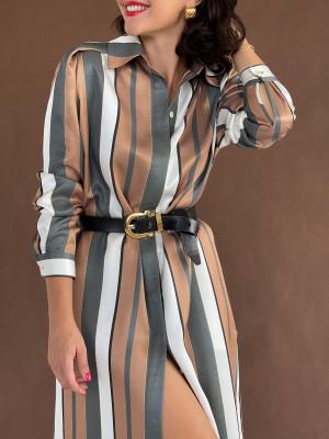 Платье- Рубашка в полоску