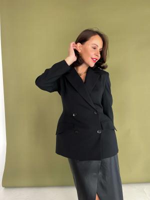 Жакет двубортный с акцентными бедрами из черной шерсти с шелком