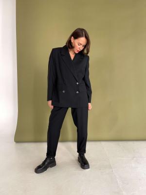 Жакет двубортный из черной шерсти с шелком