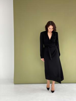 Платье на запах с плечиками и рукавами черное
